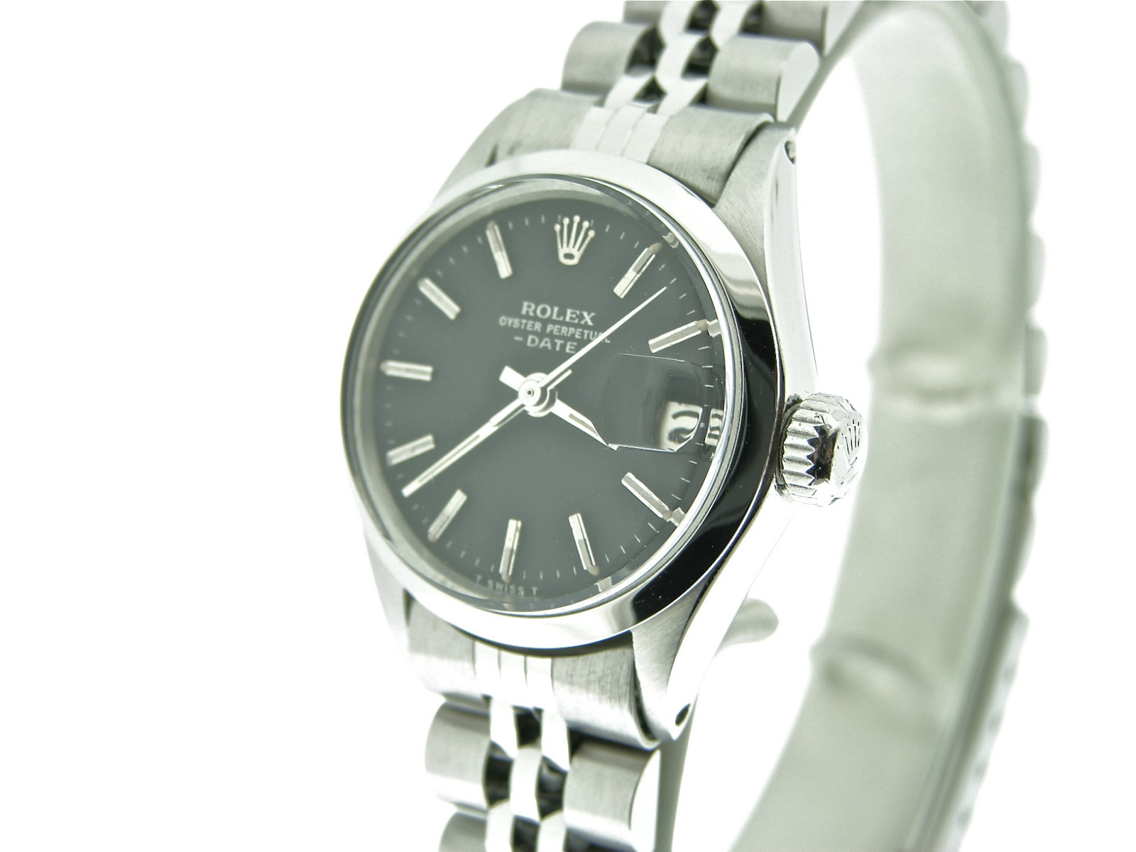 Ladies Rolex stainless steel date watch with black dial 6519