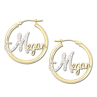 Diamond Accented Script Name Hoop Earrings in 14K Two-Tone Gold
