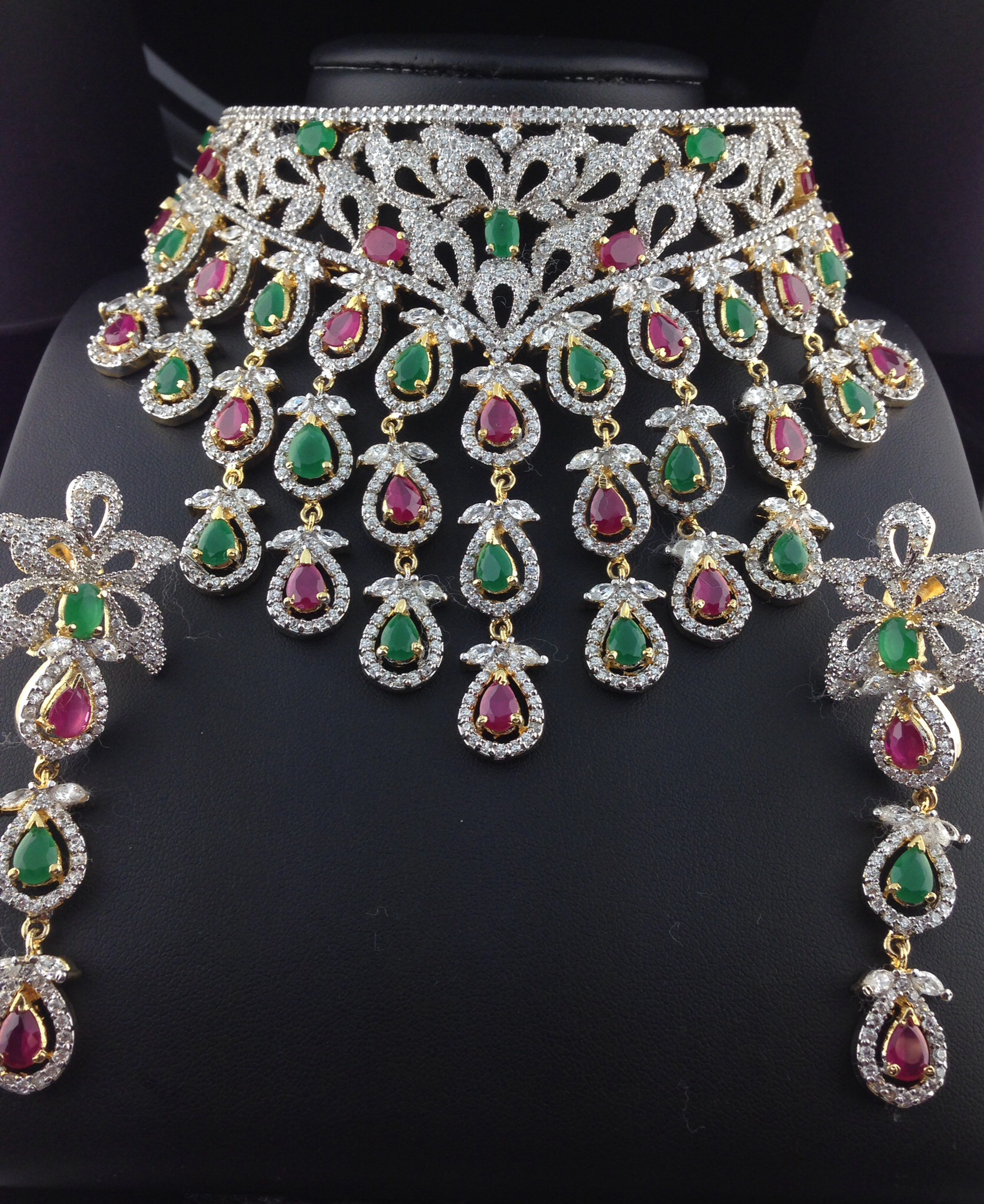 Stunning American Diamond Bridal Set With Rubies and Emeralds.