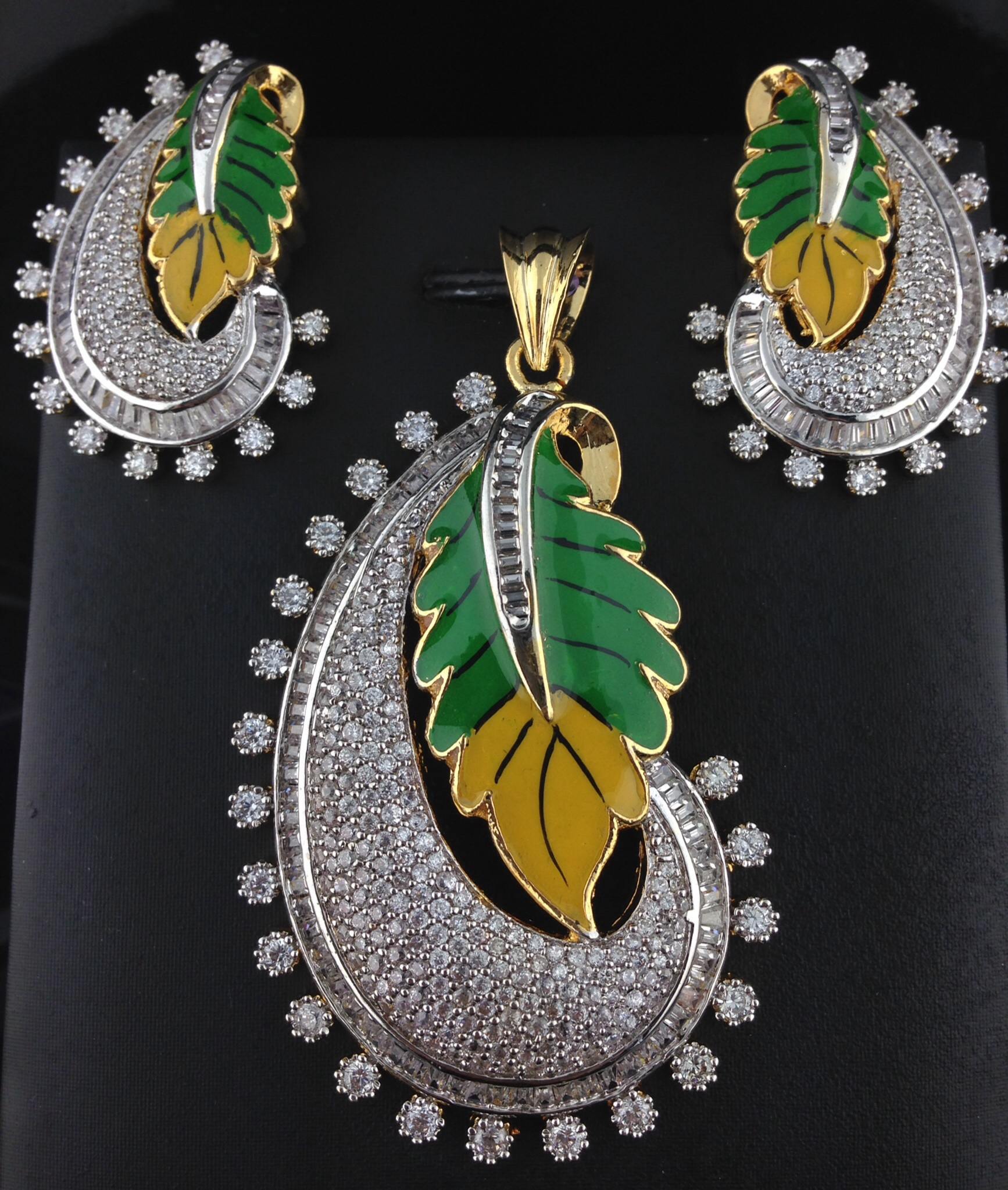 American Diamond Green And Yellow Pendant Set