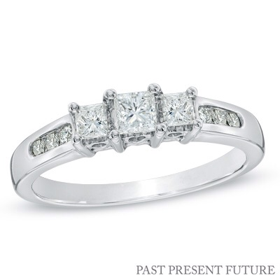 1/2 CT. T.W. Princess-Cut Diamond Past Present Future® Ring in