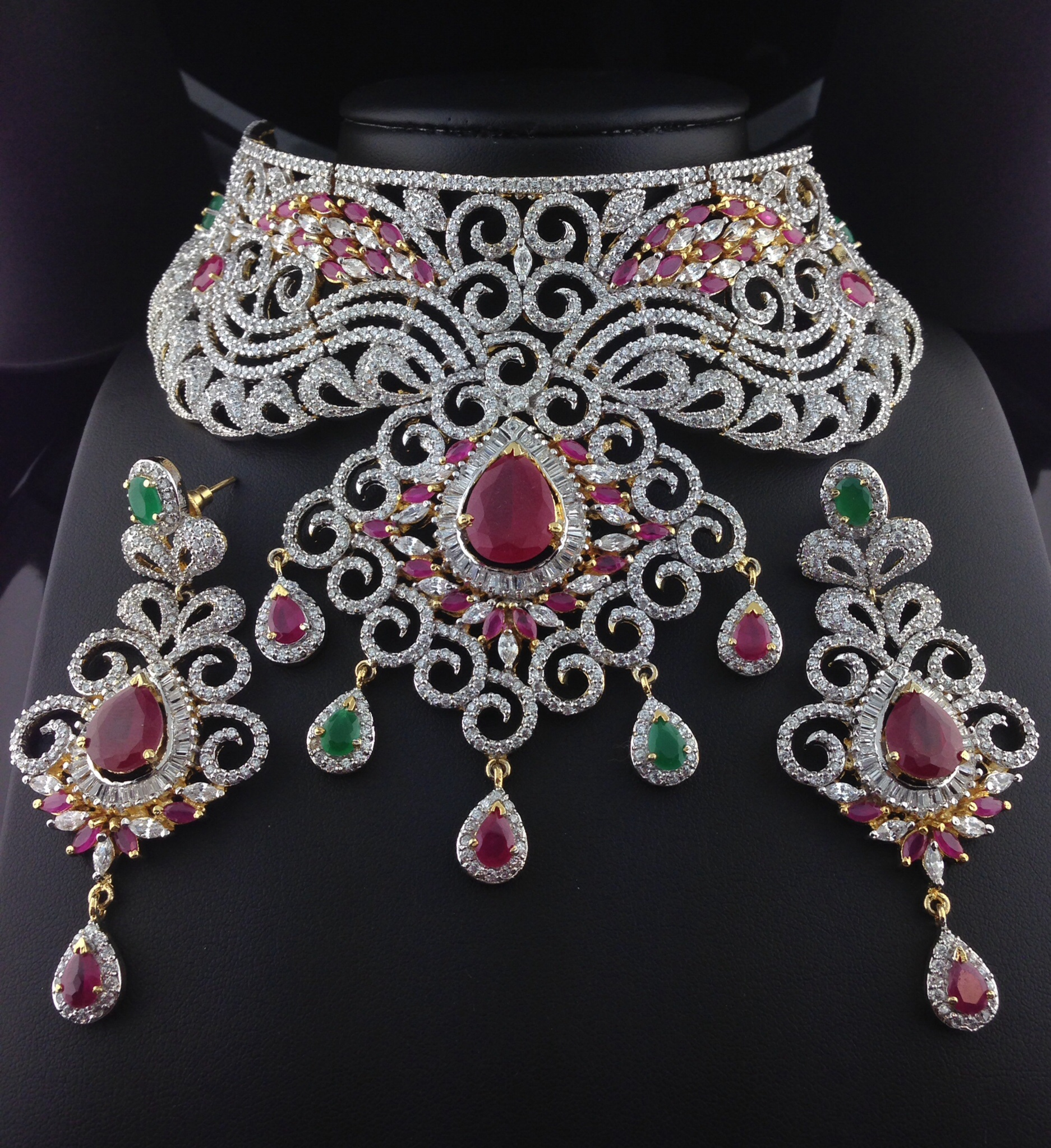 Stunning American Diamond Bridal Set With Rubies and Emeralds