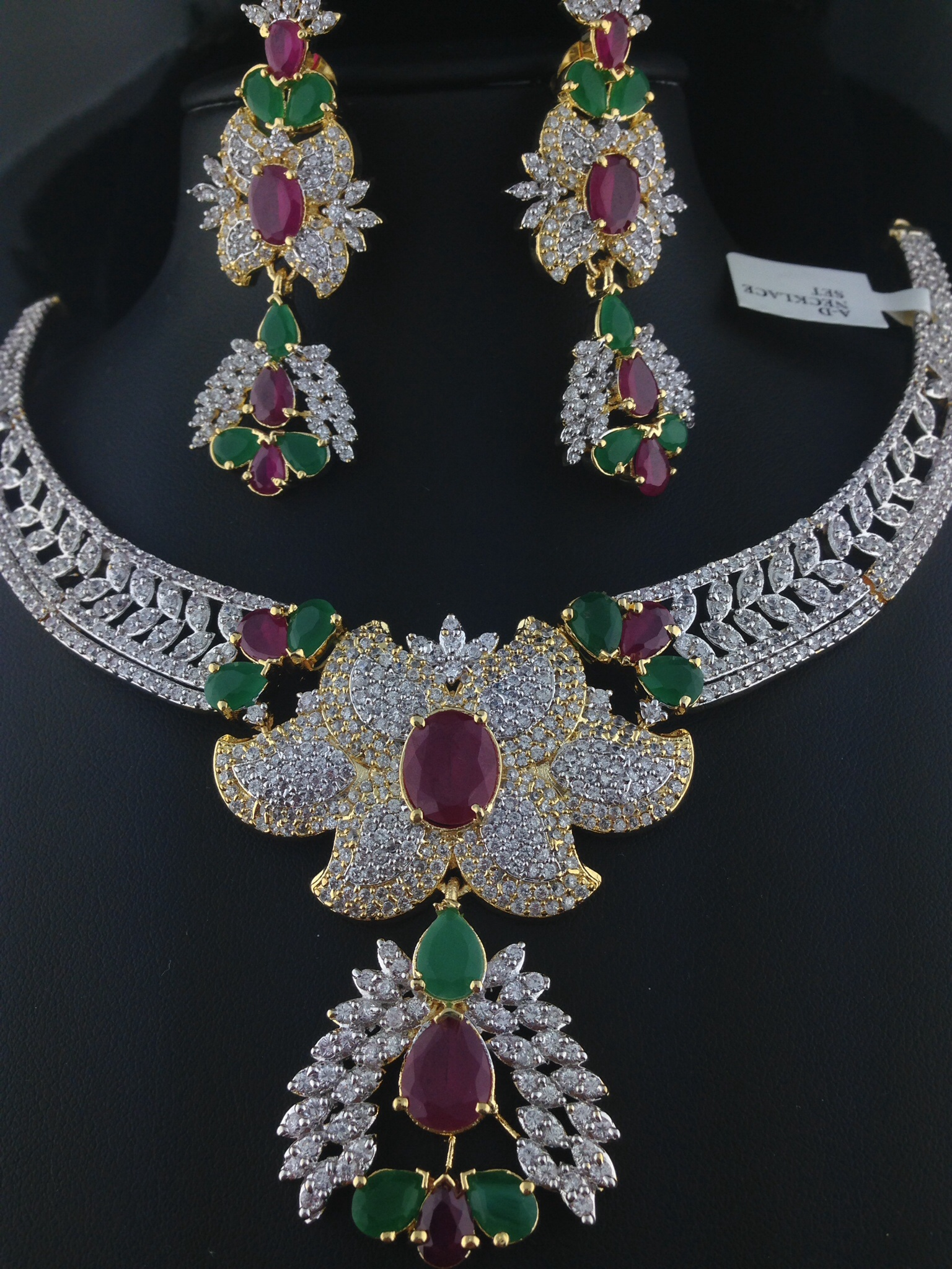 American Diamond Ruby And Emerald Necklace Set Indian Kundan Islamic And Gold Jewelry In Atlanta And Online