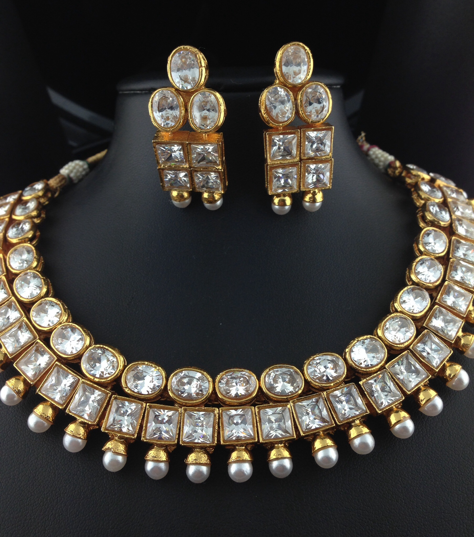 Elegant American Diamond Bridal Set With Crystals.