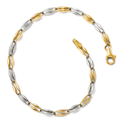 Leslie\'s 14k Two-Tone Polished Fancy Link Bracelet