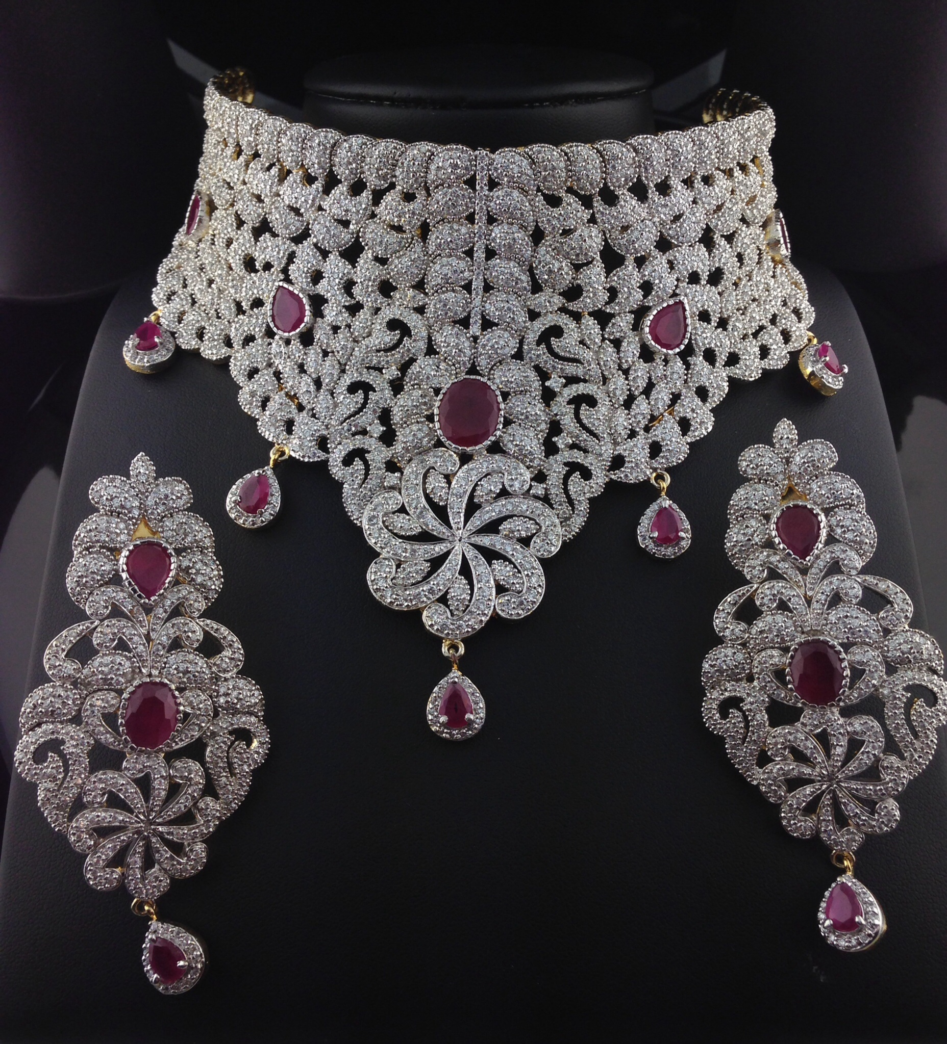 Stunning American Diamond Bridal Set With Rubies Indian Kundan Islamic And Gold Jewelry In Atlanta And Online