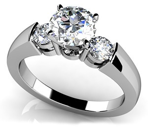 Triple Diamond Engagement Ring