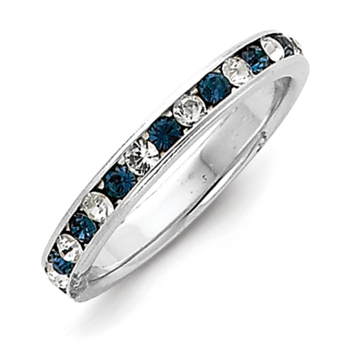 Sterling Silver Blue & White CZ Eternity Band