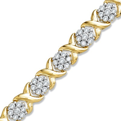 3 CT. T.W. Diamond Composite X Bracelet in 10K Gold