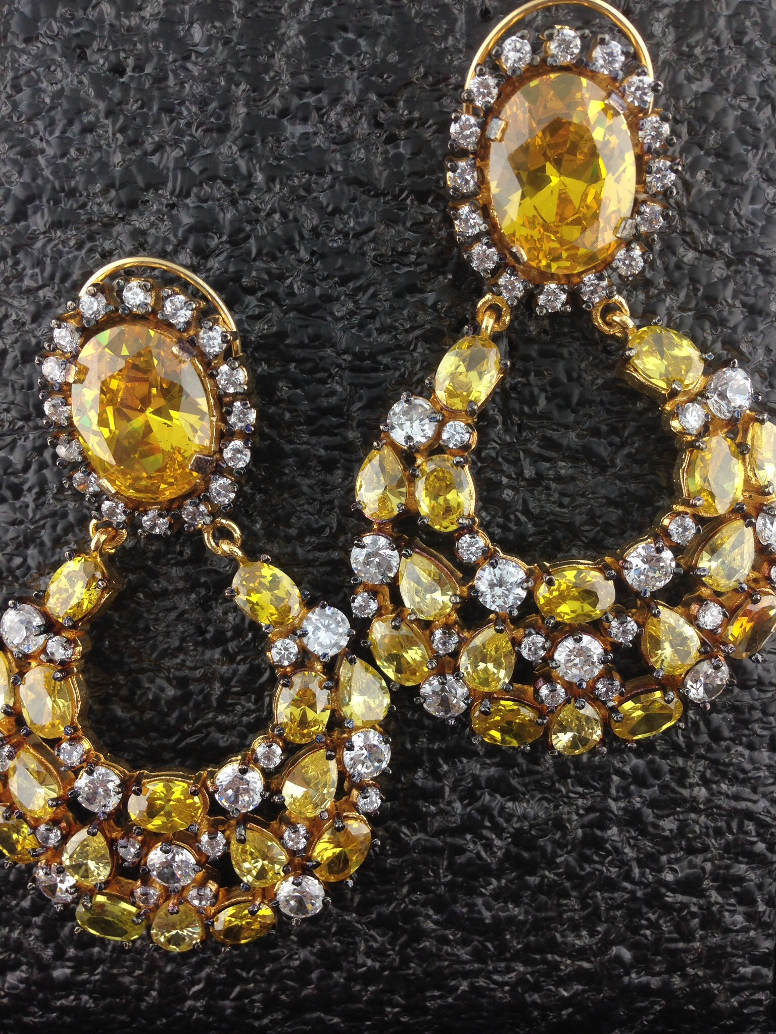 CZ Designer Earrings With Yellow Sapphire And Crystals