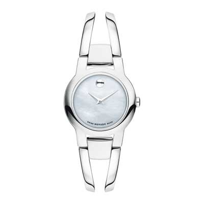 Ladies\' Movado Amorosa Bangle Watch with White Mother-of-Pearl D
