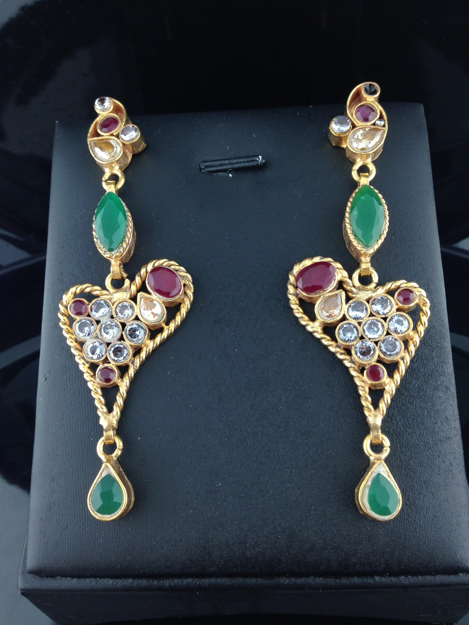 Ruby And Emerald Kundan Earrings