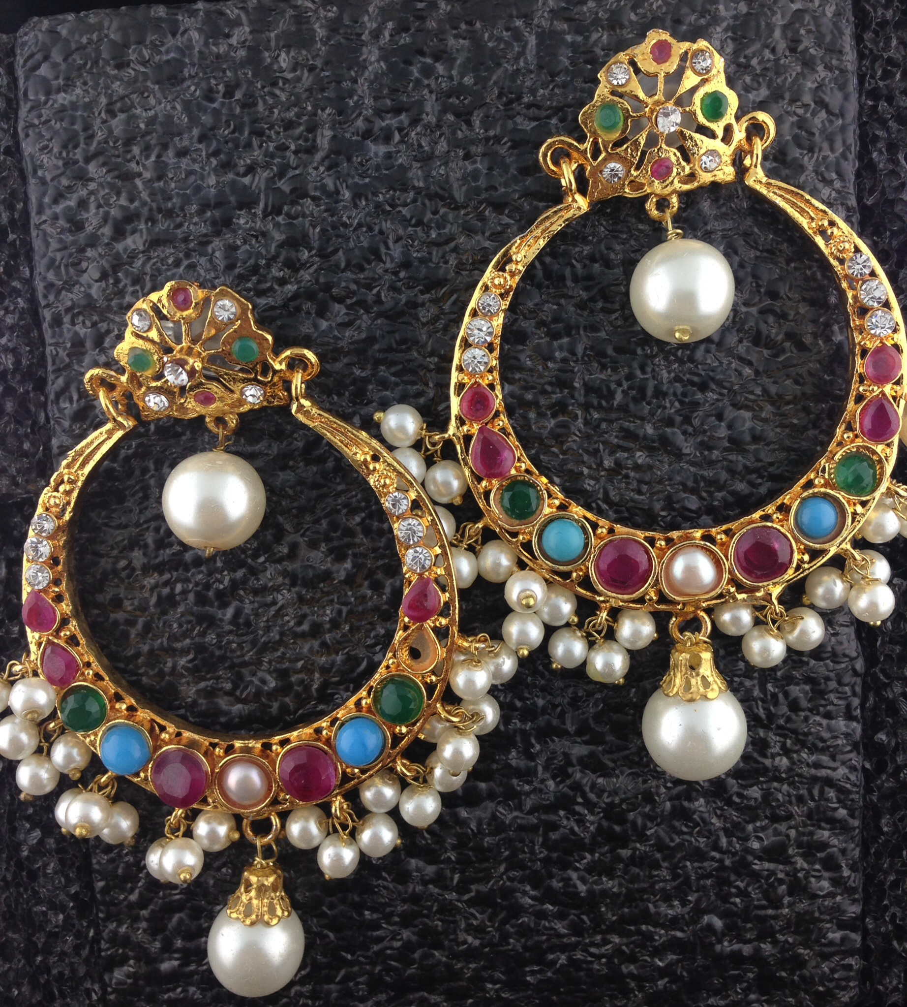 Chand Bali Multicolored Kundan Earrings With Pearls.