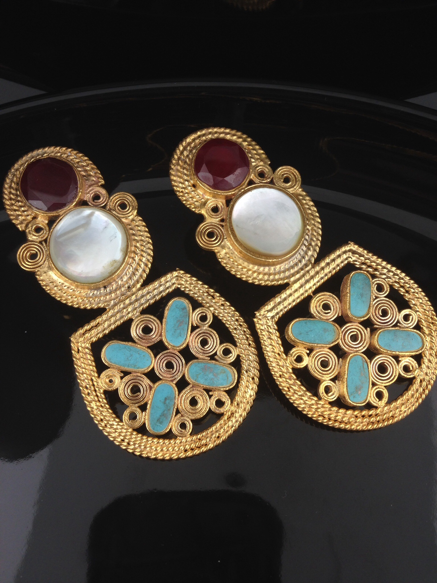 Kundan Earrings With Ruby, Emerald And Turquoise