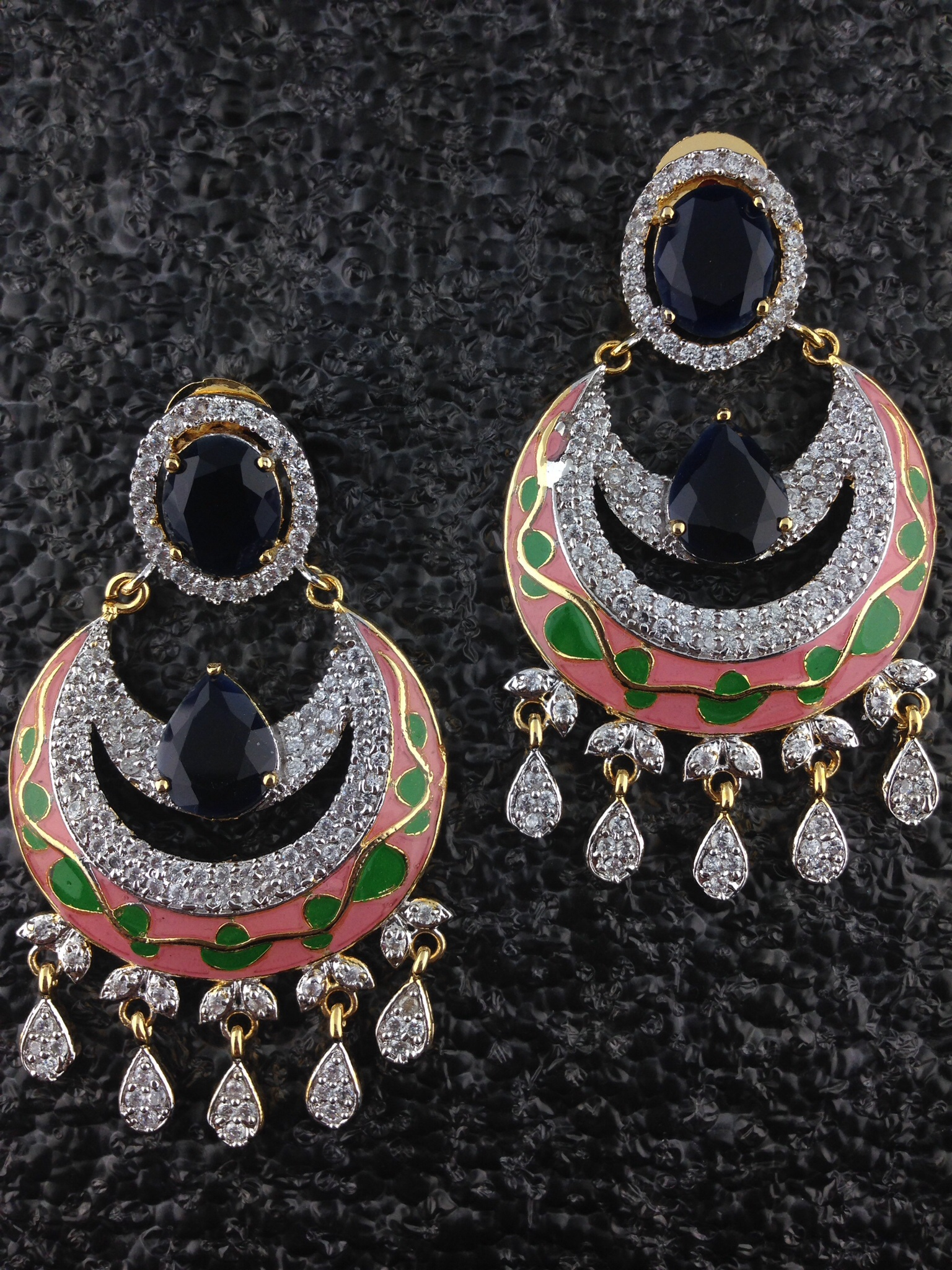 Orange CZ Designer Circular Earrings With black Onyx.