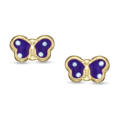 Child\'s Purple Enamel Butterfly Stud Earrings in 14K Gold