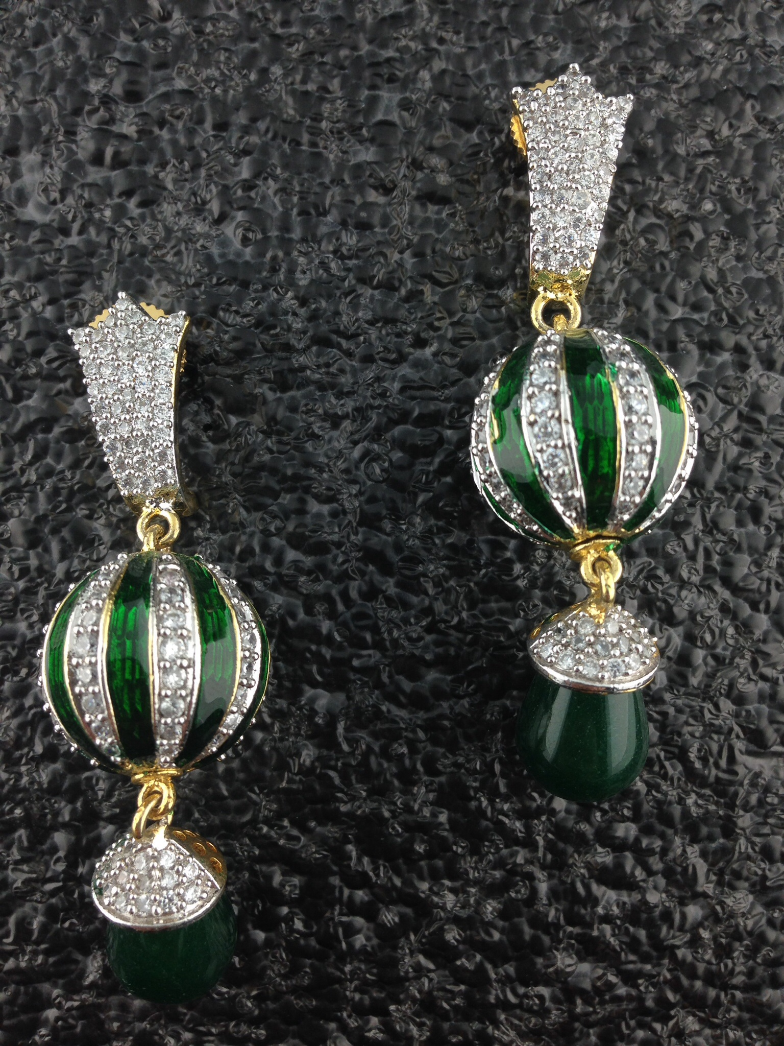CZ Designer Earrings With Emeralds.