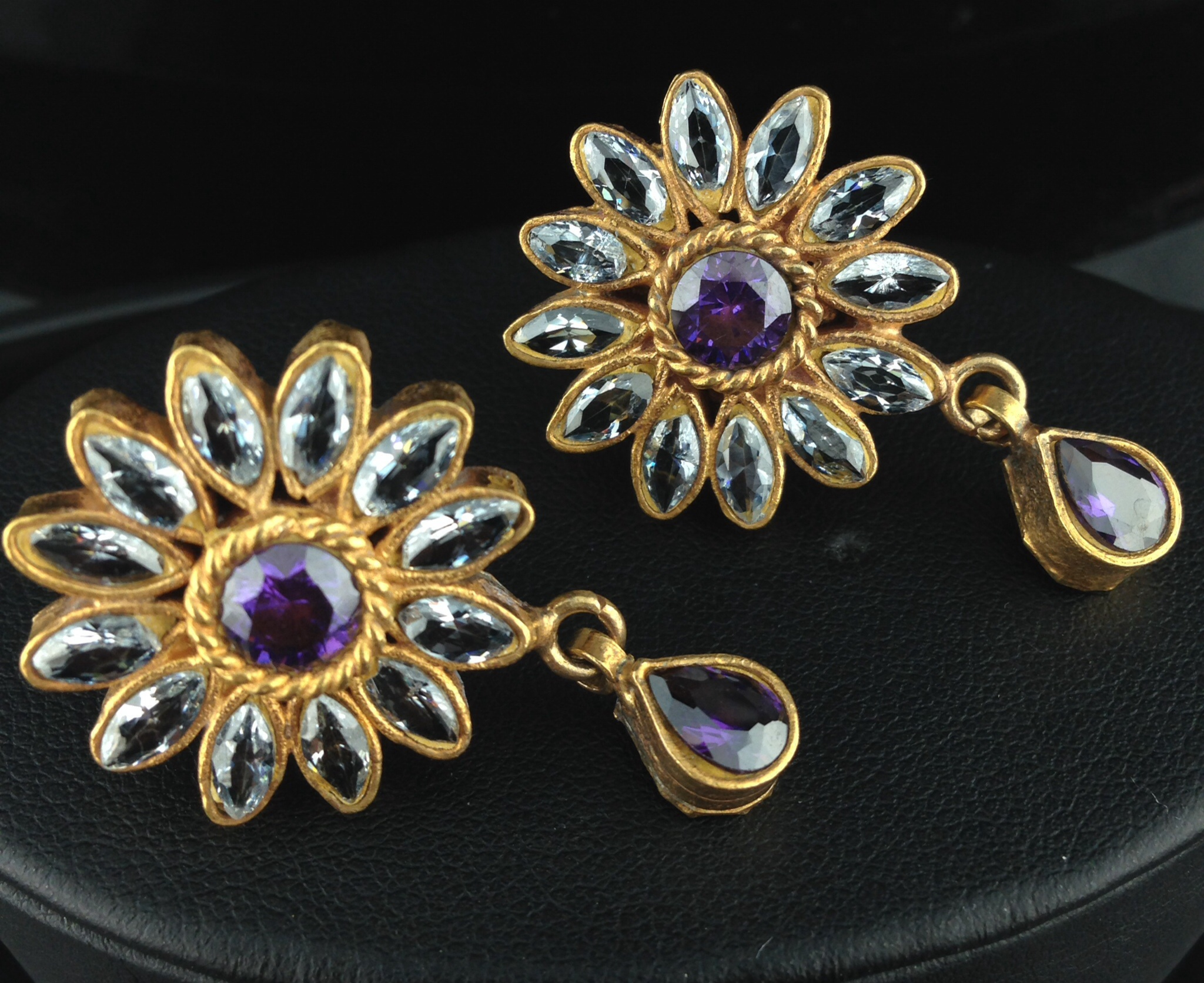 Flower Shaped Kundan Tops with Violet and Crystal Stones.