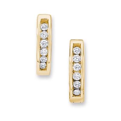 1/10 CT. T.W. Diamond Huggie Hoop Earrings in 10K Gold