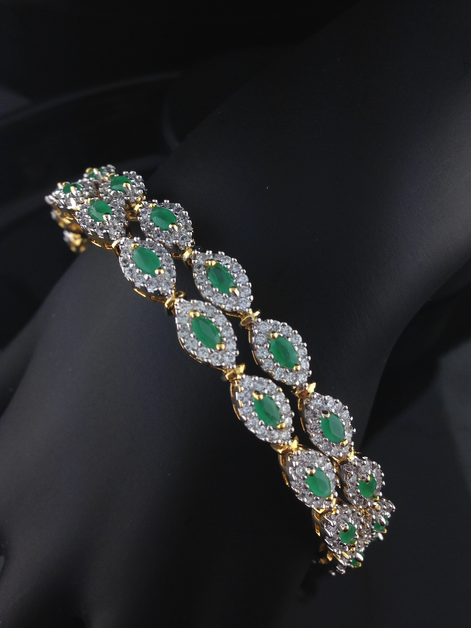 American Diamond Emerald Bangles
