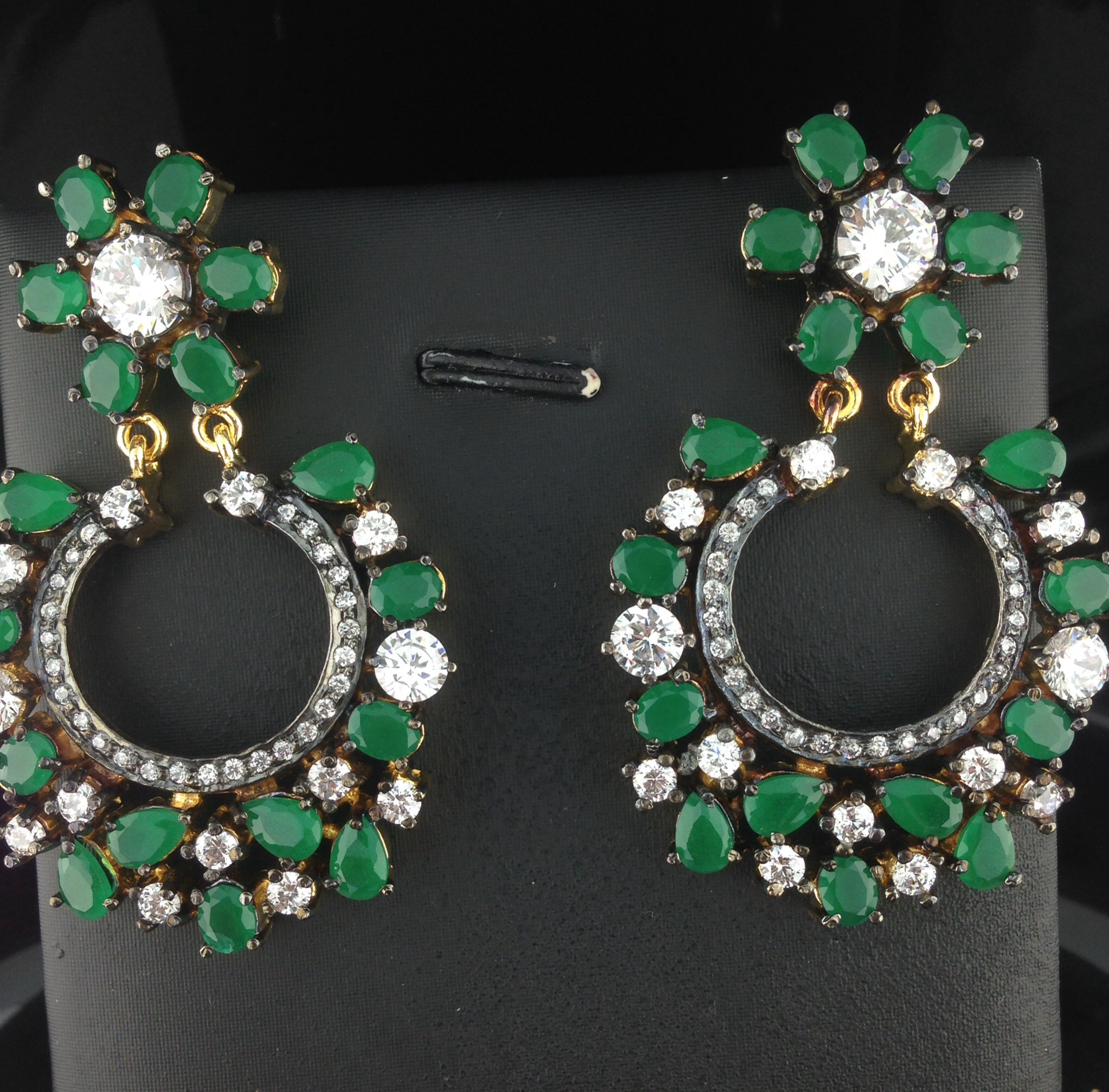 Designer Crystal And Emerald Earrings