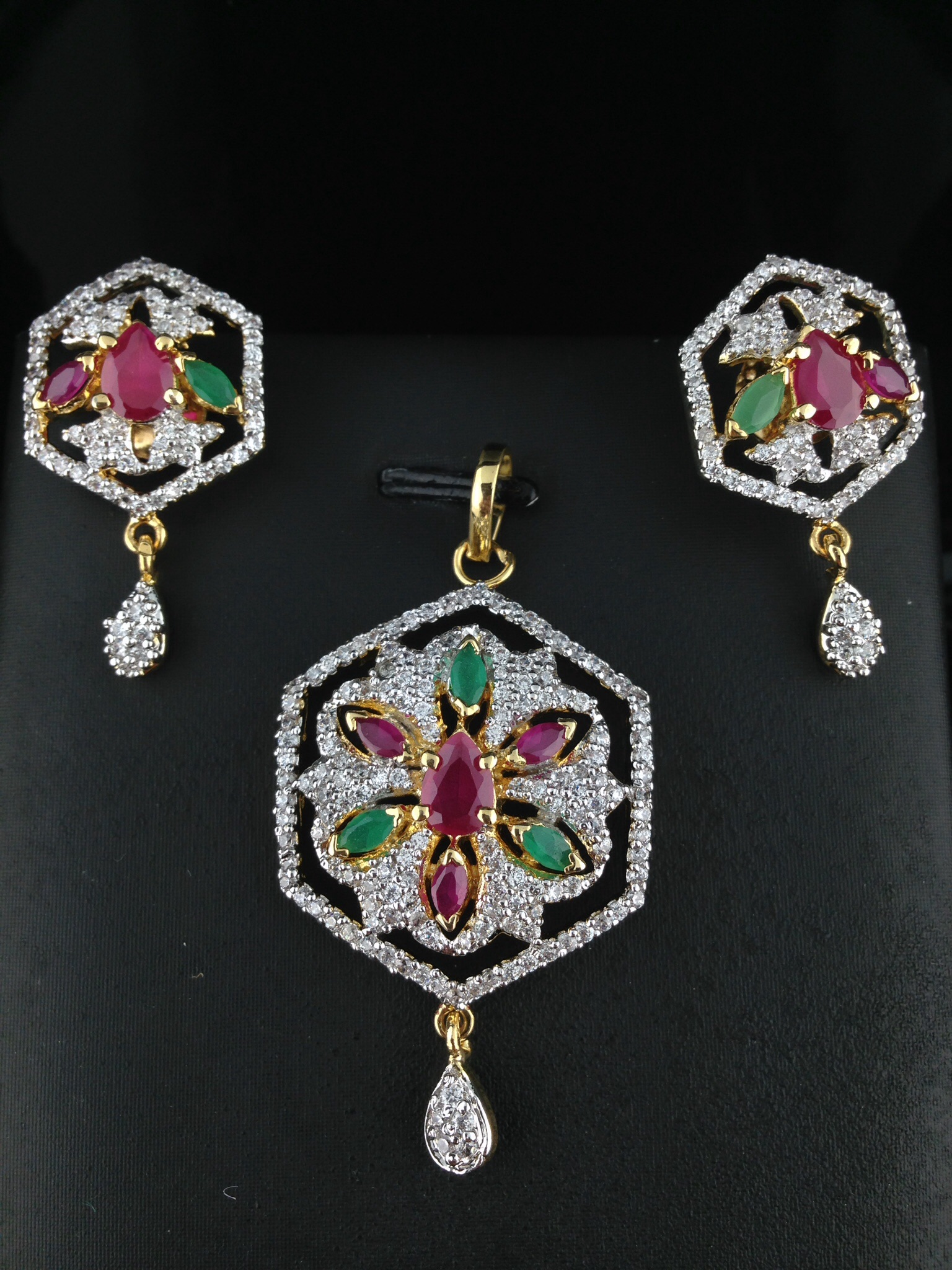 American Diamond CZ Pendant Set With Rubies and Emeralds