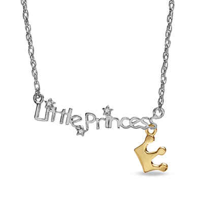 "Child\'s Diamond Accent ""Little Princess\"" Pendant in Two-Tone Ste"