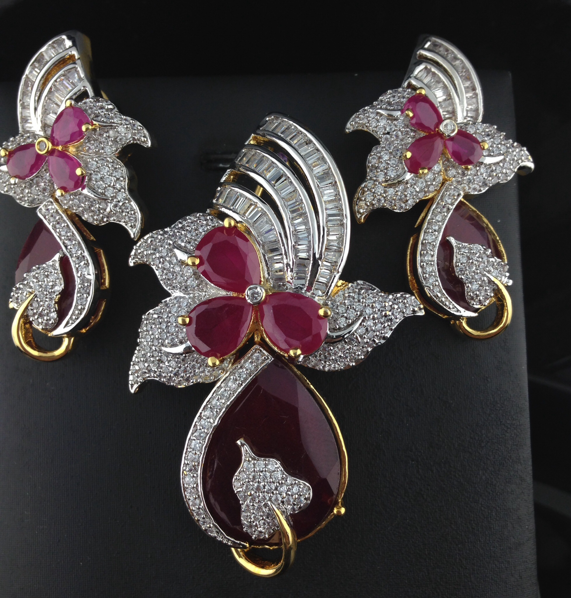American Diamond Ruby Pendant Set