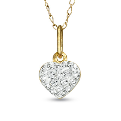 Child\'s Swarovski® Crystal Heart Pendant in 14K Gold - 13""