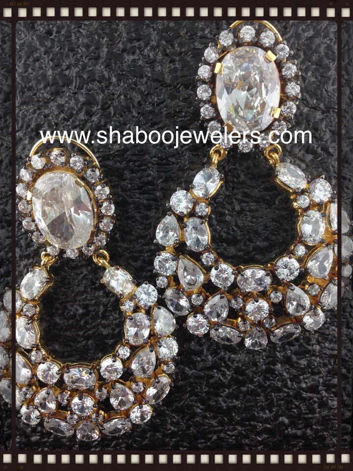 CZ Designer Earrings With Crystals