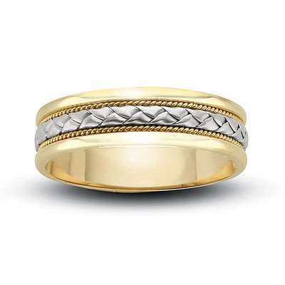 Ladies\' 6mm Woven Wedding Band in 14K Two-Tone Gold