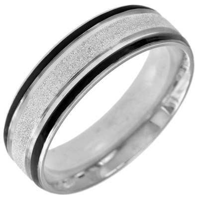 Men\'s 7.0mm Diamond-Cut Stainless Steel Band with Black Ion-Plat