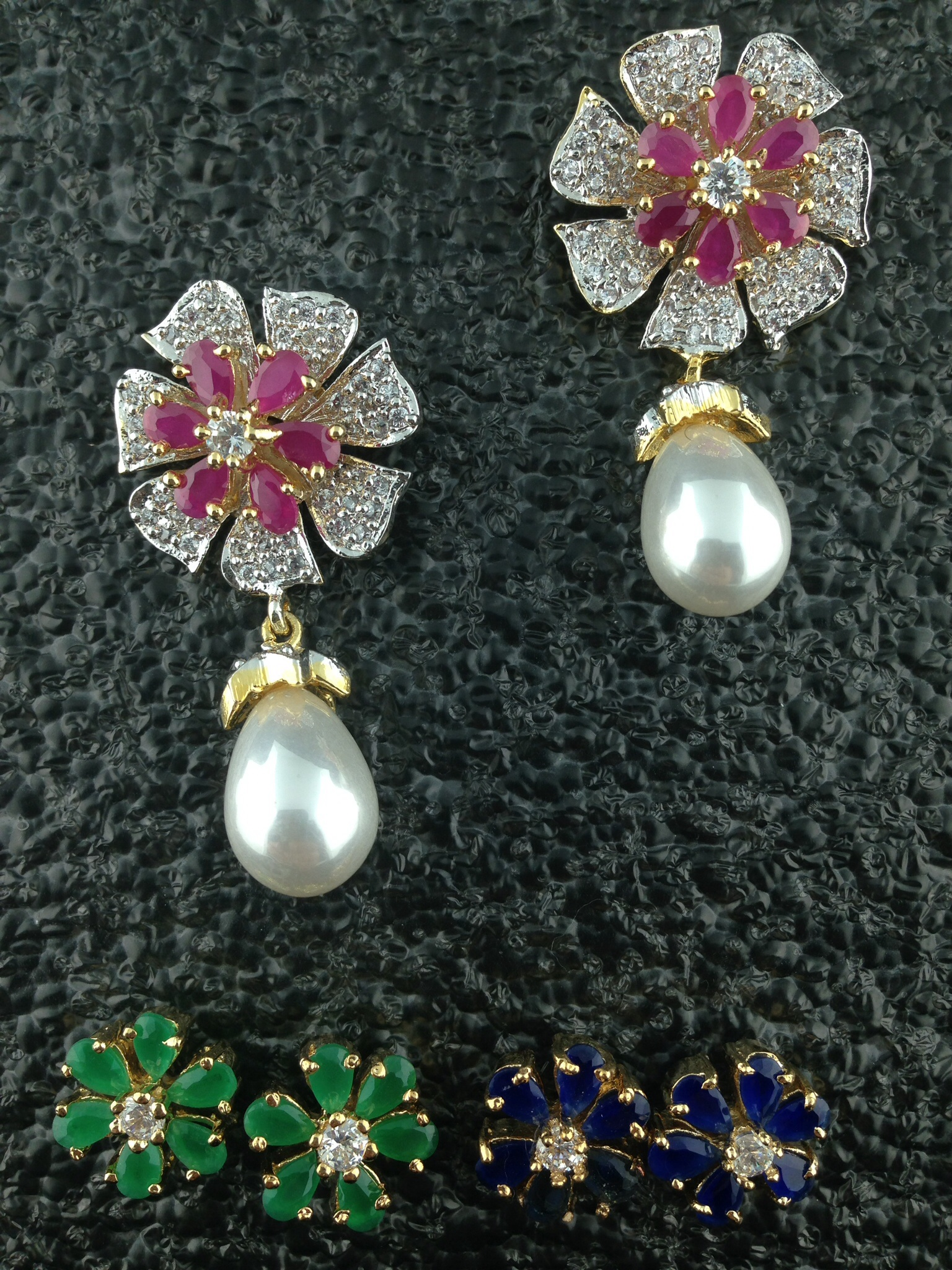 CZ Designer Earrings With Changeable Flowers.