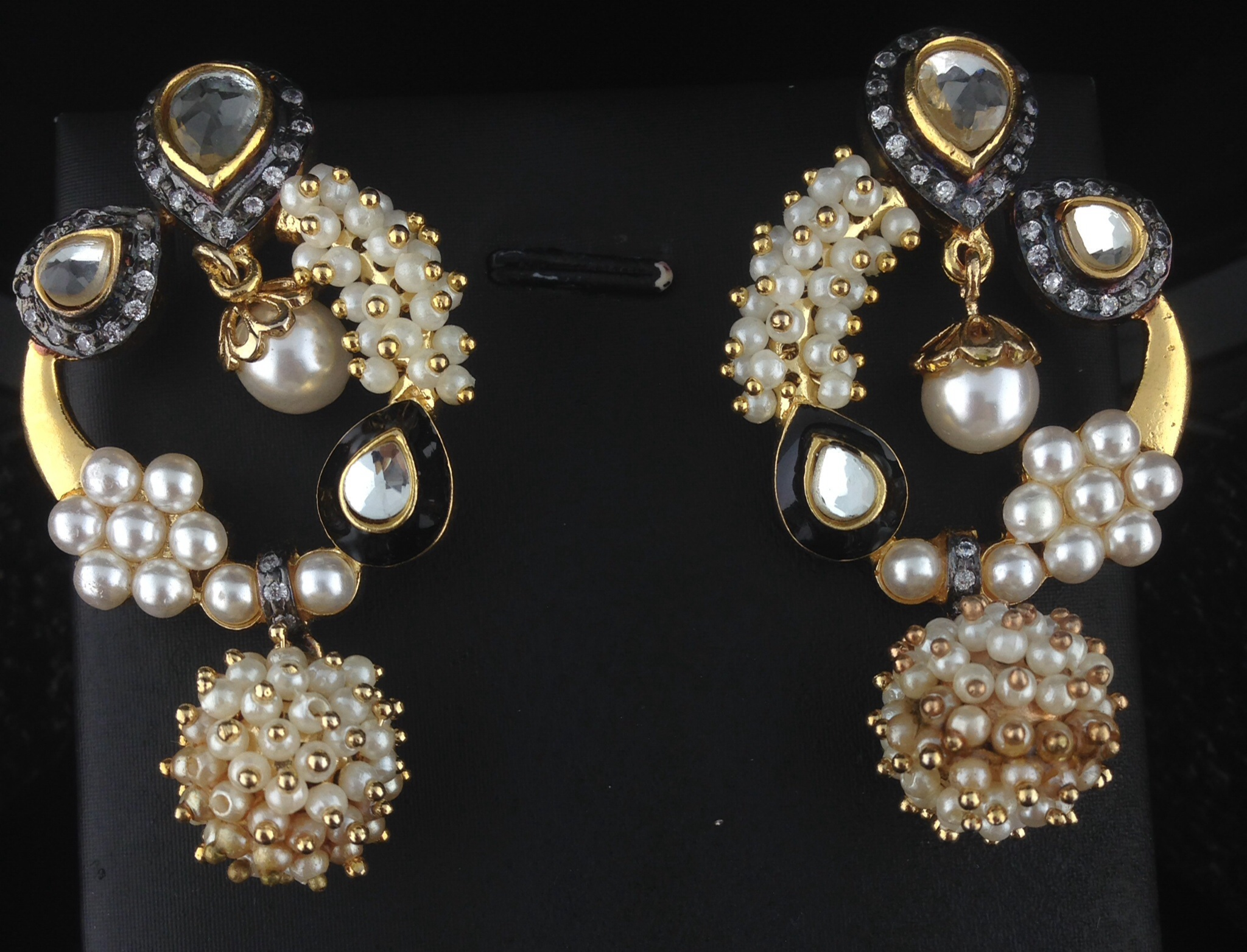 Designer Two Tone Teardrop Earrings With Pearls And Crystals