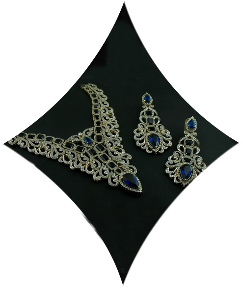 Sterling Silver Studed with Cubic Zircons & Blue Onex