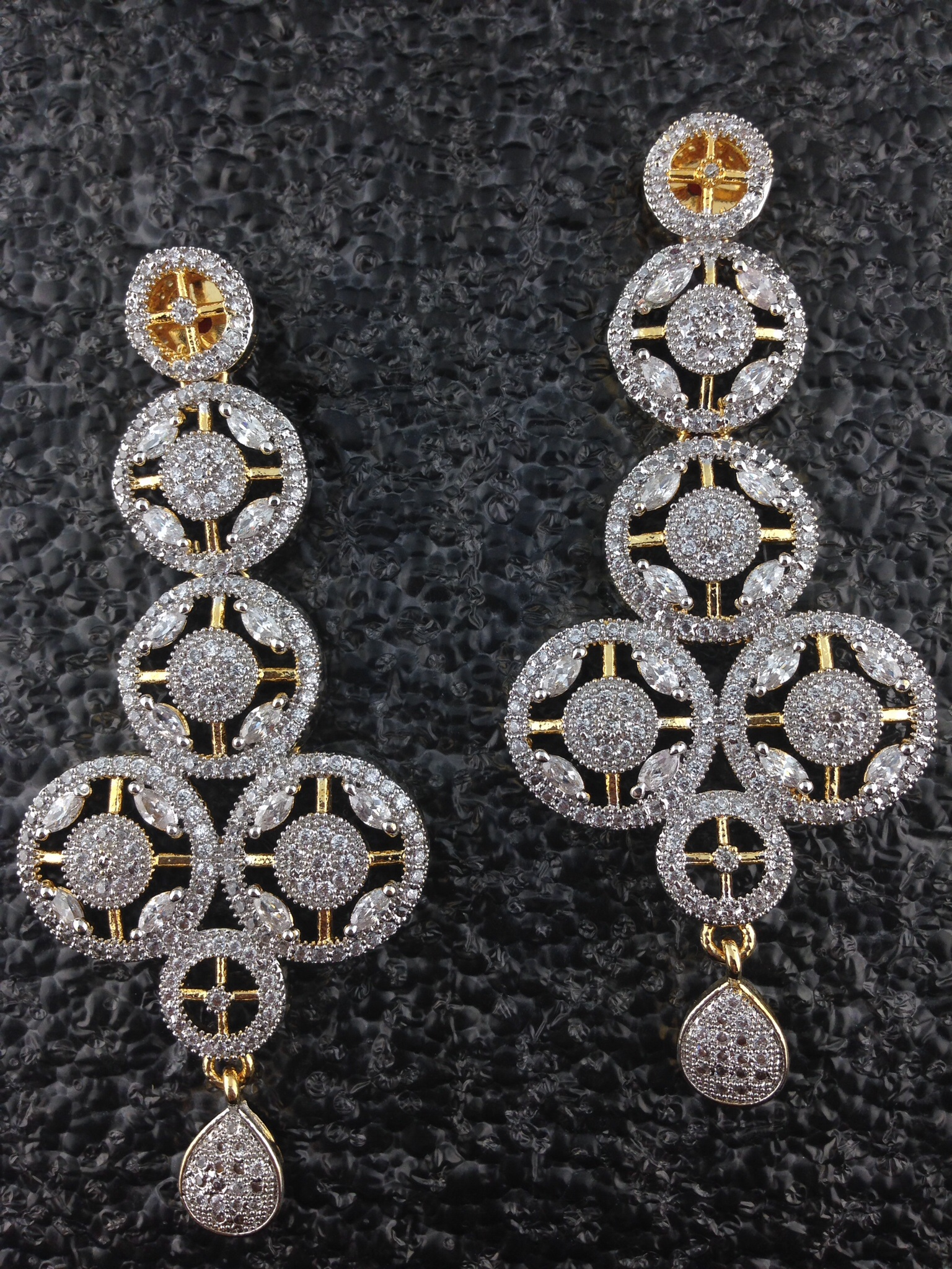 Two Tone CZ Long Designer Earrings.