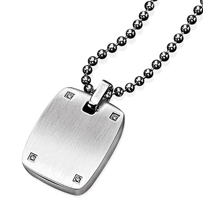Triton Men\'s Diamond Accent Dog Tag Pendant in Stainless Steel