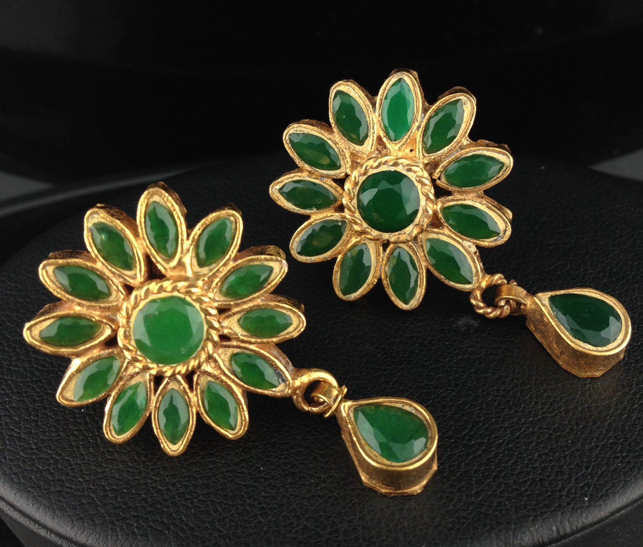 Flower Shaped Kundan Tops with Emeralds.