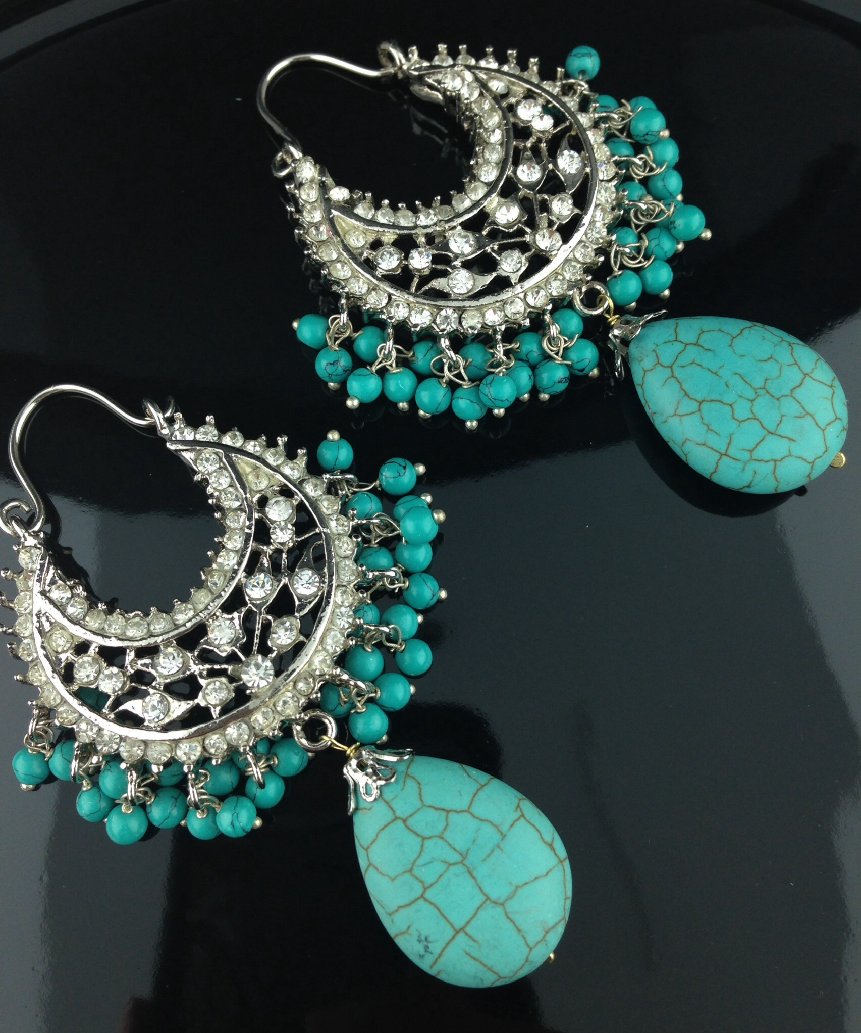 Turquoise And Crystal Silver Polish Earrings.