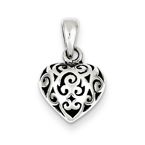 Sterling Silver Antique Puff Heart Pendant