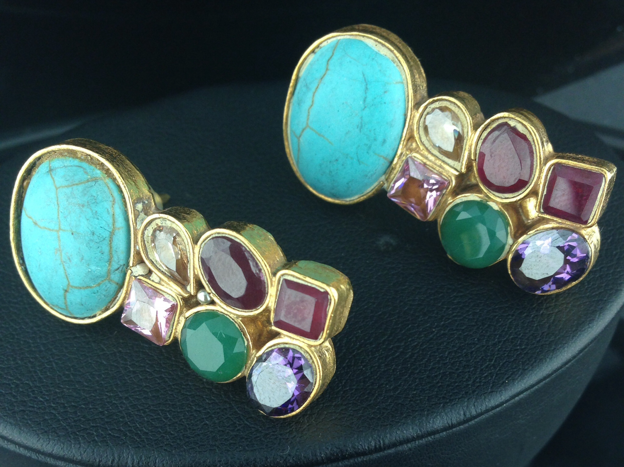 Turquoise and Multicolored Kundan Earrings