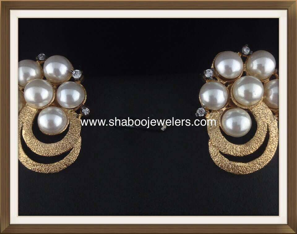 American Diamond Gold Polished Pearl Tops