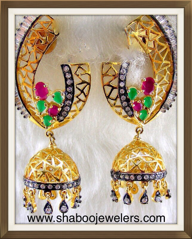 Ruby And Emerald Jhumkas