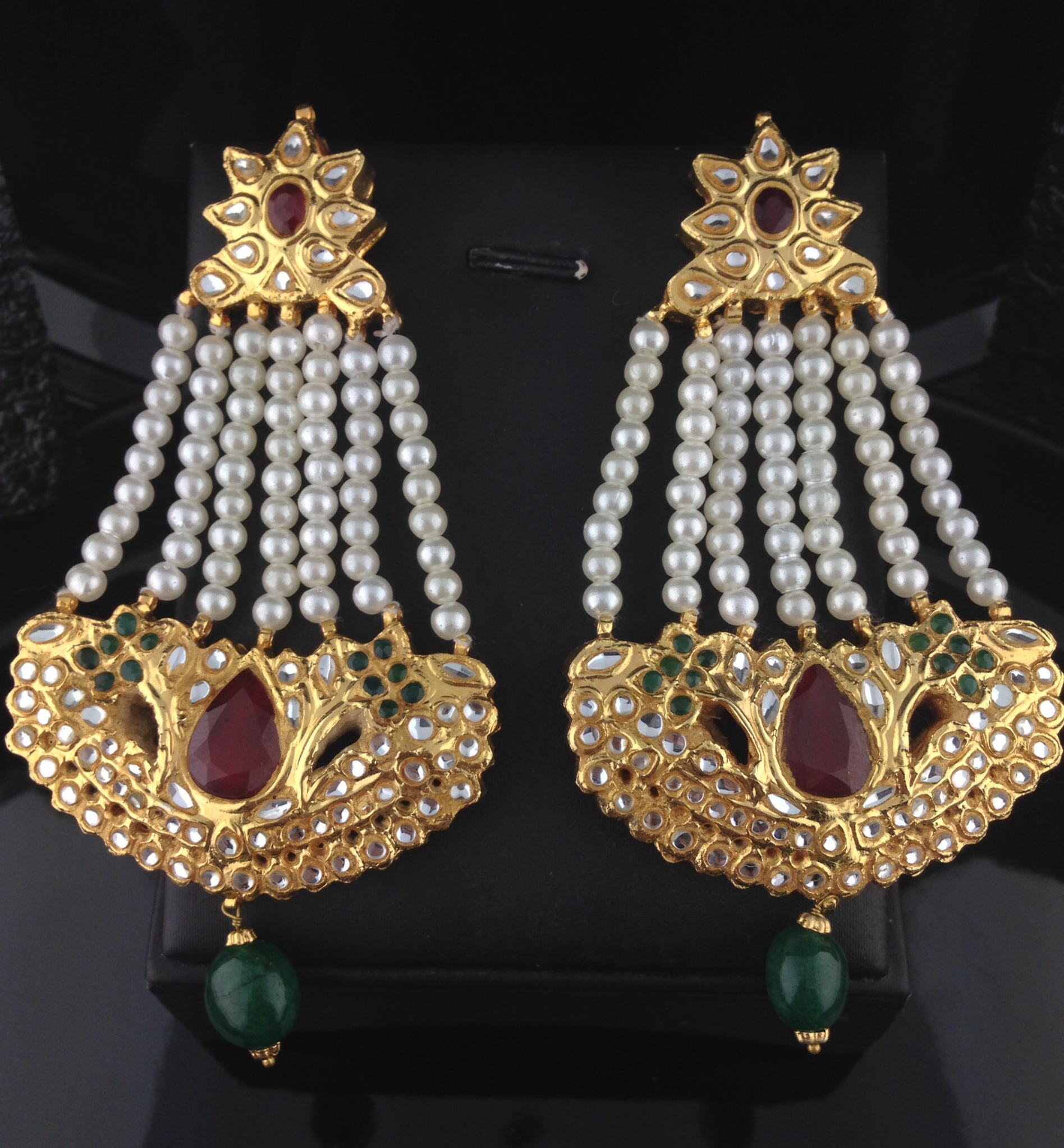 Bridal Kundan Earrings With Pearls, Emeralds And Rubies