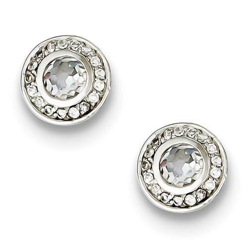 Sterling Silver CZ Post Earrings