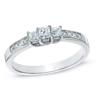 1 CT. T.W. Princess-Cut Diamond Three Stone Engagement Ring in 1