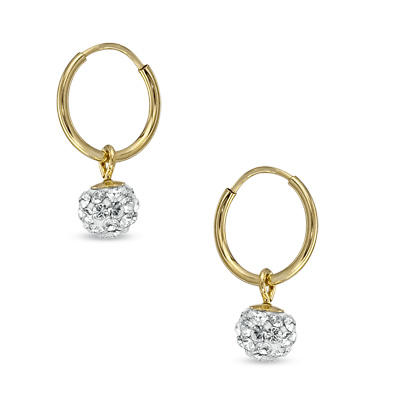 Child\'s Swarovski® Crystal Ball Hoop Earrings in 14K Gold