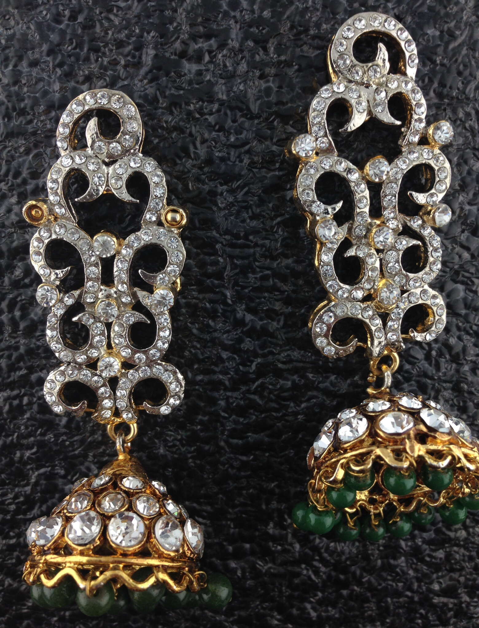 Gold Polished With Emeralds And Crystals.