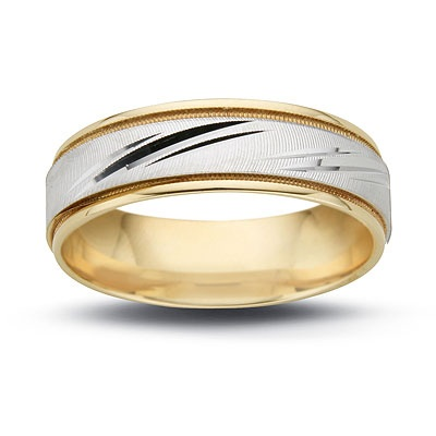 Ladies\' 6.5mm Diagonal Flash Wedding Band in 14K Two-Tone Gold