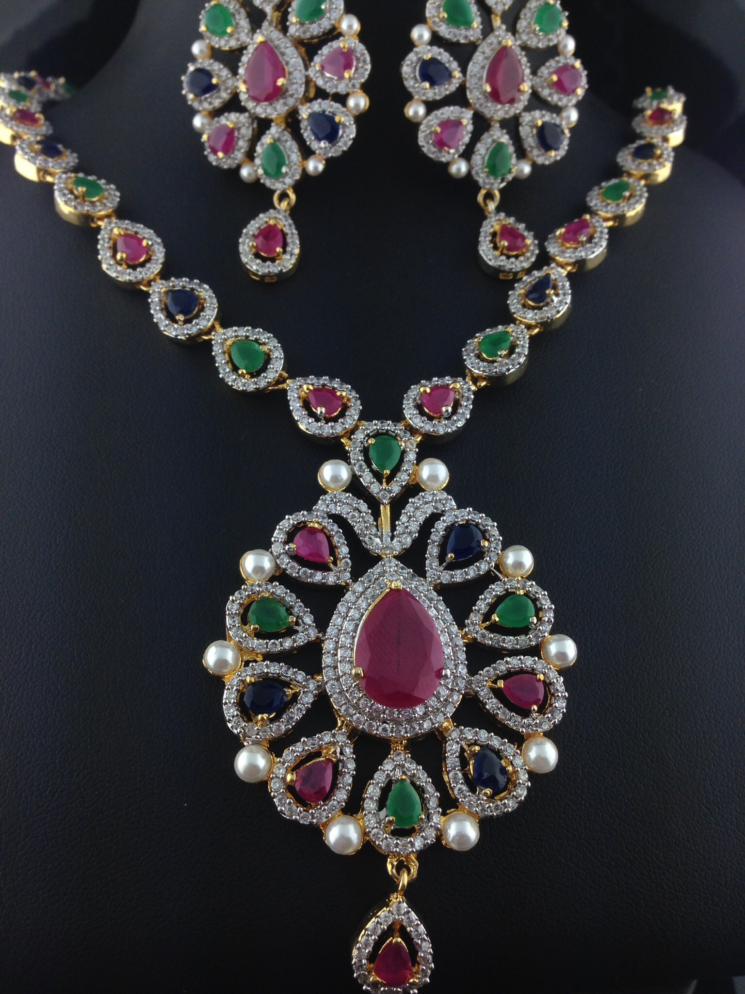 American Diamond Emerald And Ruby Necklace Set